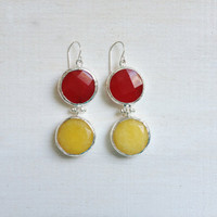 LARGE dangle long  DUAL bright red and  sunshine yellow gemstone earringssilver gemstone earrings Israel jewelry