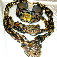 Cheetah Pendant Crystal Necklace and Bracelet set Gold Cheetah Print Watch