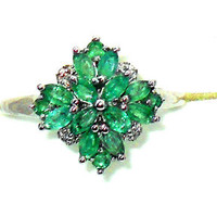 1.21ctw  Natural Zambian Emerald Ring in Sterling Silver Size 7