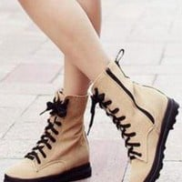 Ladies Lace Up Summer Ankle Boots Shoes Trainers In BEIGE from NaomiShu