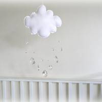 Rain Cloud Nursery Mobile - Crystal Mobile/ Sun Catcher With Crystal Rain Drops - Sparkling Prism Te | Luulla