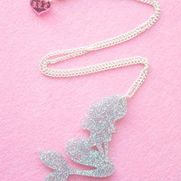 Mermaid Jewelry // Wish You Were a Mermaid Holographic Glitter Necklace // mermaid necklace