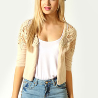 Jayna Pearl And Crochet Sleeve Cropped Cardigan