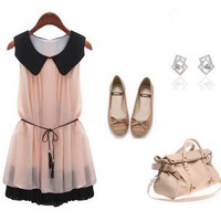 Europe and the United States boutique dress large lapel chiffon dress