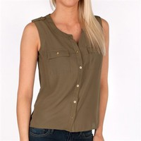 Monteau Juniors Woven Button Down Tank at Von Maur