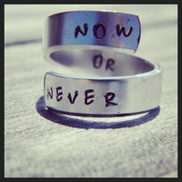 Now or never motivational spiral ring
