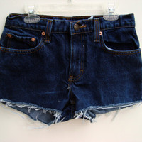Jean Shorts Dark Denim Low Waisted Size 1 by shortyshorts on Etsy