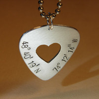 Latitude longitude guitar pick pendant with heart in sterling silver