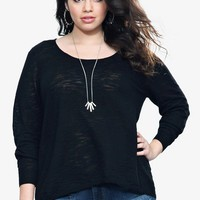 Black Tulip Lace Back Slub Knit Pullover | Shop All Fashion
