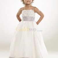 [US$146.99] Perfect Spaghetti A-line Matte Satin Sleeveless Flower Girl Dress