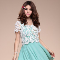 Embroidery Floral Lace Short Shirt For Summer