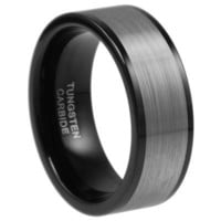 9mm Tungsten Carbide Wedding Men Black Ring Band Size (11.5)