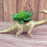 Up-cycled Glittery Gold Apatosaurus Dinosaur Planter