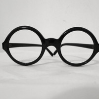 Iconic Round Black Eyeglasses / Frame FRANCE. NOS. George Burns Sartre.  Circular Sunglasses