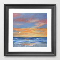 Sunset Reflections Framed Art Print by Rosie Brown