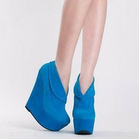 Women Vogue Platforms Wedge High Heels Suede Solids Shoes Retro Ankle Boots