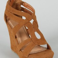 Amazon.com: Lindy 66 Strappy Open Toe Platform Wedge TAN 6: Shoes