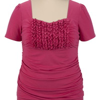 Short Sleeve Ruffle Front Top