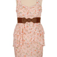 Belted Floral Print Tank Dress