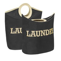 Laundry Hamper/Tote - Cream/Black