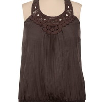 Smocked Bottom Crochet Front Tank