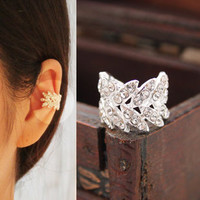 Harvest Leaves Rhinestone Single Ear Clip | LilyFair Jewelry