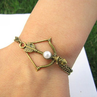 Vintage Style Antique Hunger Games Bronze Bow and by braceletcool