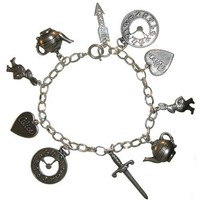 Alice In Wonderland Charm Bracelet In Burnished Silver