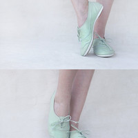 Mint Oxfords - Handmade Pastel Leather flat shoes -  CUSTOM FIT