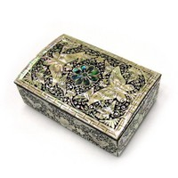 Silver J Mother of pearl lacquer wooden jewellery box, trinket case, jewelry box, handmade gift, black butterfly