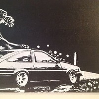 RARE JDM AE86 COROLLA HAND PRINTED WALL ART ON 12x16 CANVAS  *A MUST LOOK*