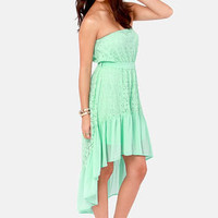 Angel Falls Strapless Mint Lace Dress