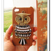 Antique case Antique Brass Cute Owl Hard Case