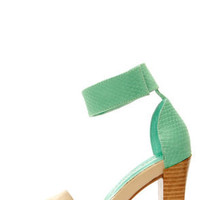 Chinese Laundry Balance Natural and Teal Single Strap Sandals