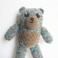 Plush Crochet Bear in Turquoise and Brown Boucle, MADE TO ORDER.