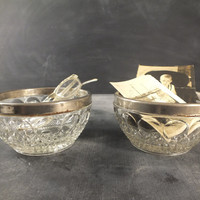 Vintage Set of 2 Cut Glass Silver Rimmed Candy Bowls