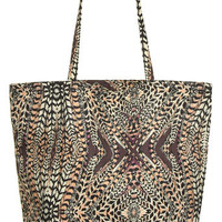 Burgundy feather print shopper