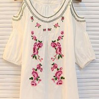 White Floral Embroidered Shirt