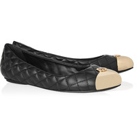 Tory Burch | Kaitlin quilted-leather and metal ballet flats | NET-A-PORTER.COM