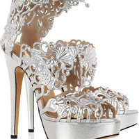 Charlotte Olympia | Belinda cutout leather sandals | NET-A-PORTER.COM