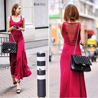 Women's Sexy back gauze stitching Slim stretch waistcoat wild style Long Dress