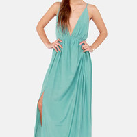 Titania's Woods Backless Seafoam Maxi Dress