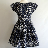 Skater dress grunge batik cotton cap sleeve full skirt