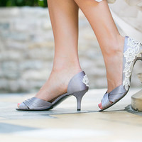 Wedding Shoes - Grey/Silver Wedding Shoes, Bridal Heels with Ivory Lace. US Size 9.5