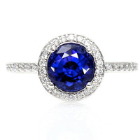 Blue Sapphire Engagement Ring Round Halo Diamond Sapphire Ring Custom Wedding Jewelry 14K or Palladium