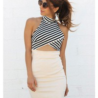Striped Cutout Bodycon Dress