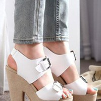 Ladies Chunky Block Heel Style Buckle Shoes In WHITE from NaomiShu