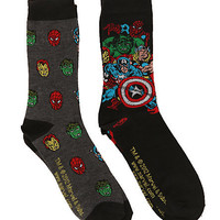 Marvel Universe Heroes Men's Crew Socks 2 Pack | Hot Topic