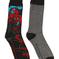 Marvel Universe Spider-Man Grey Men's Crew Socks 2 Pack | Hot Topic