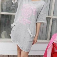 Grey Longline and Oversized T-shirt with Contrast Letter Print and Twin Pockets